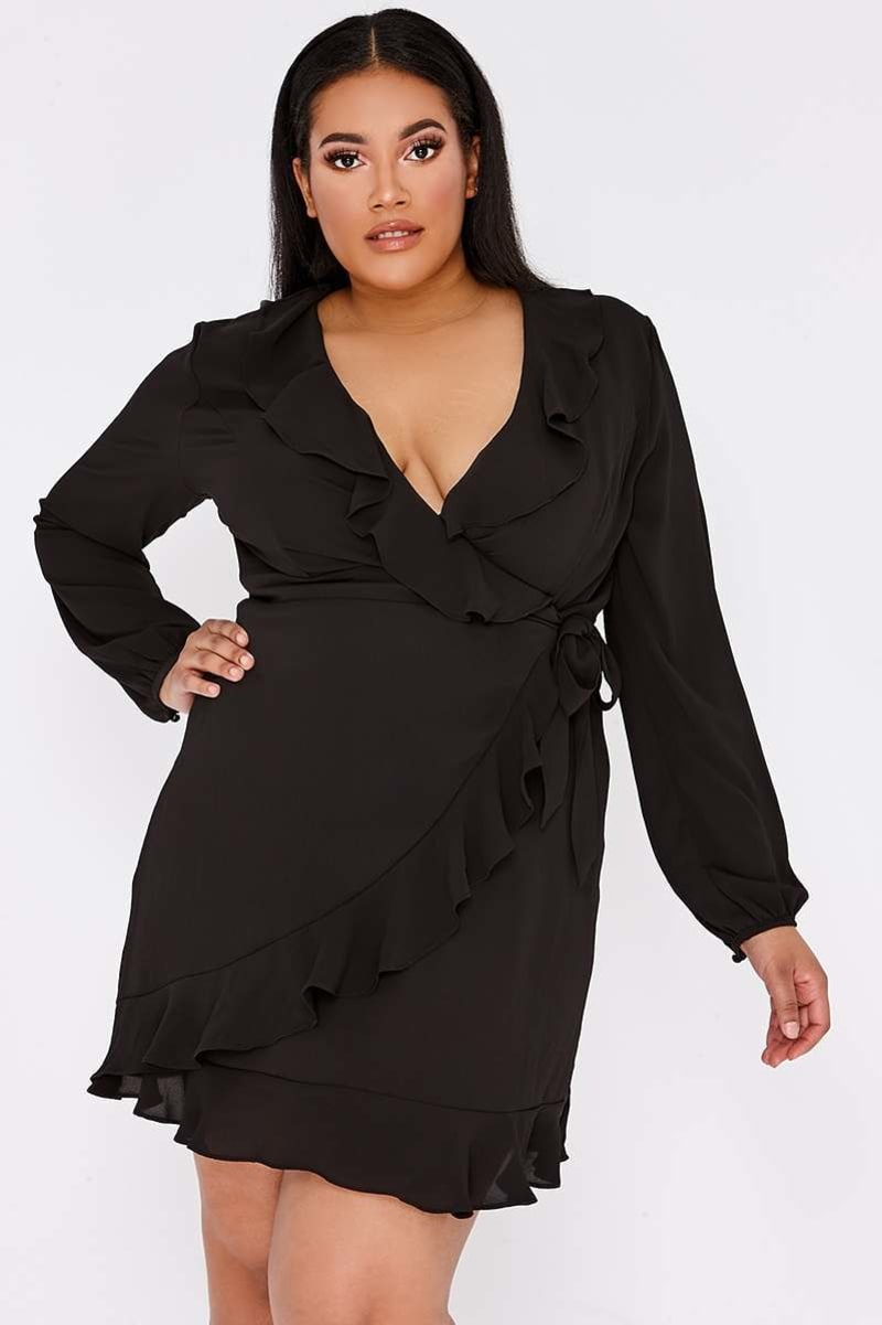 CURVE ARISSIA BLACK FRILL WRAP MINI DRESS