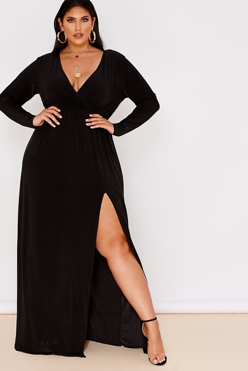 CURVE LATECIA BLACK SLINKY WRAP FRONT MAXI DRESS