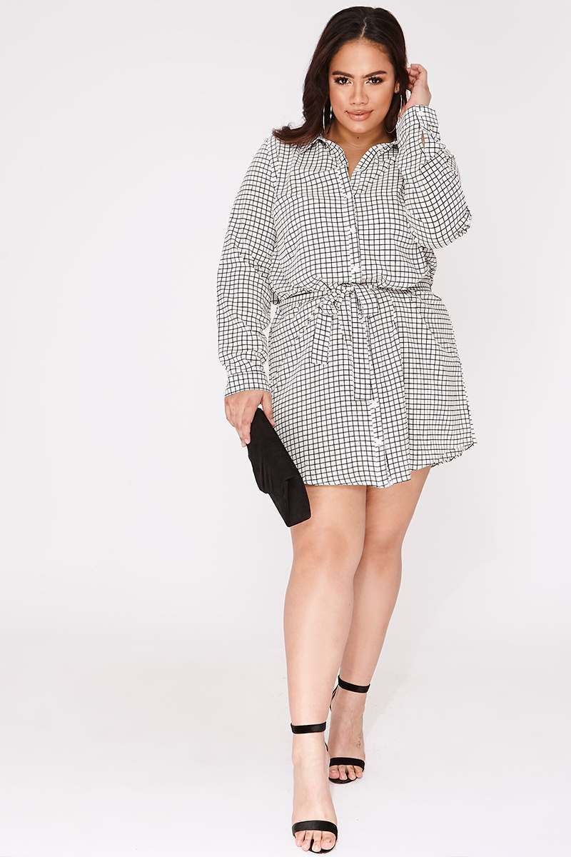 CURVE LENNIX WHITE GRID PRINT TIE WAIST SHIRT DRESS