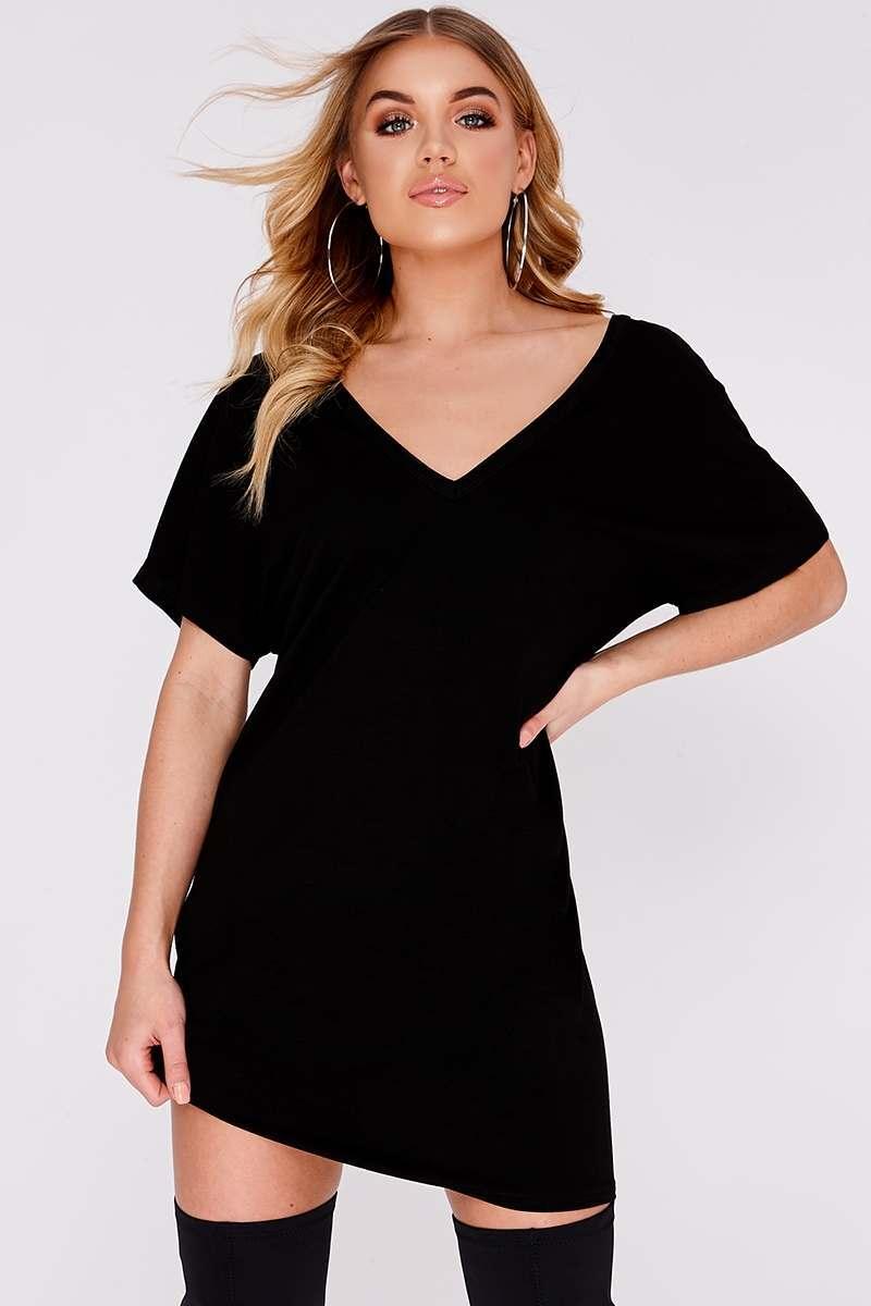 BEV BLACK PLUNGE OVERSIZED T SHIRT DRESS