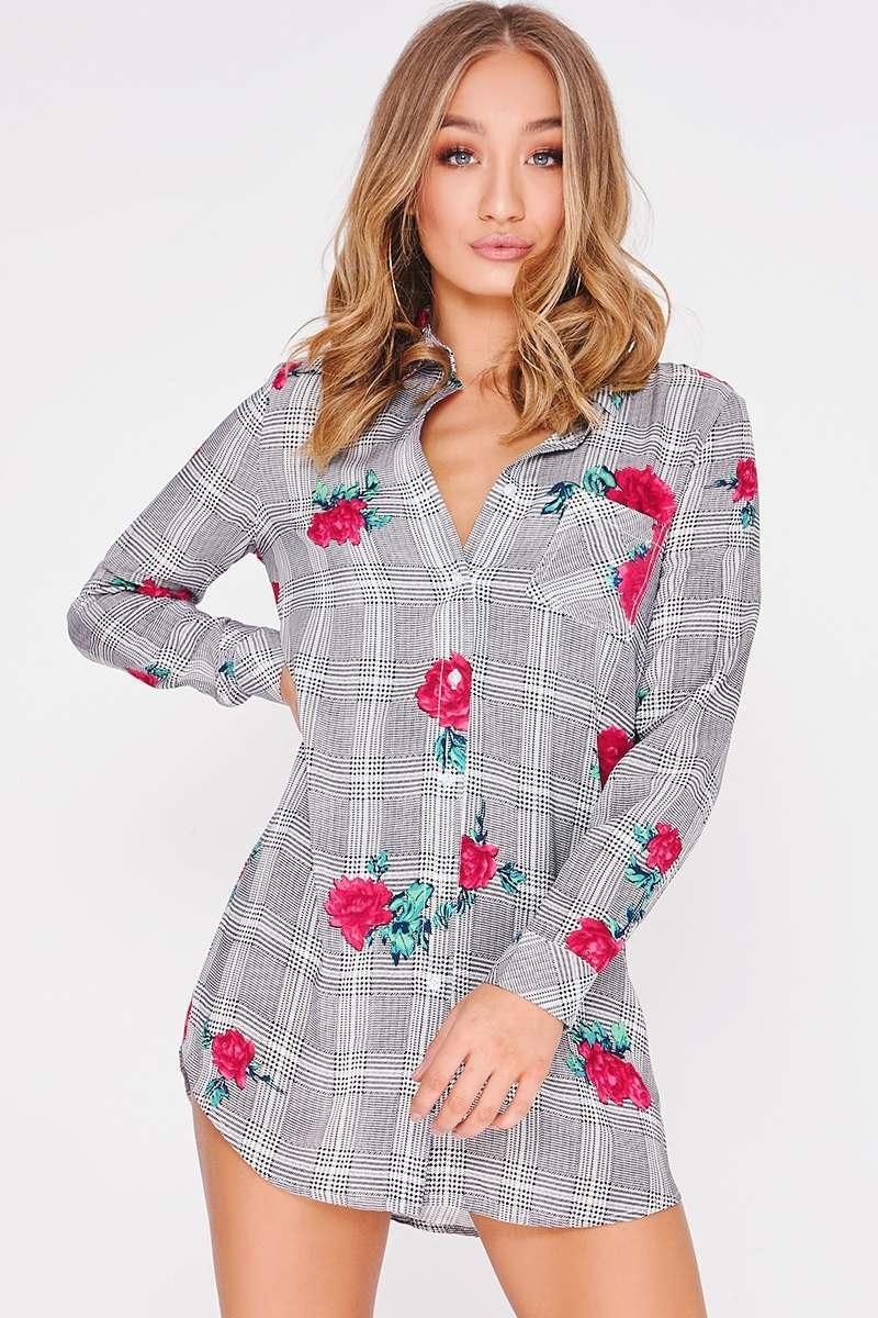 ACADIA ROSE PRINT CHECKED SHIRT DRESS