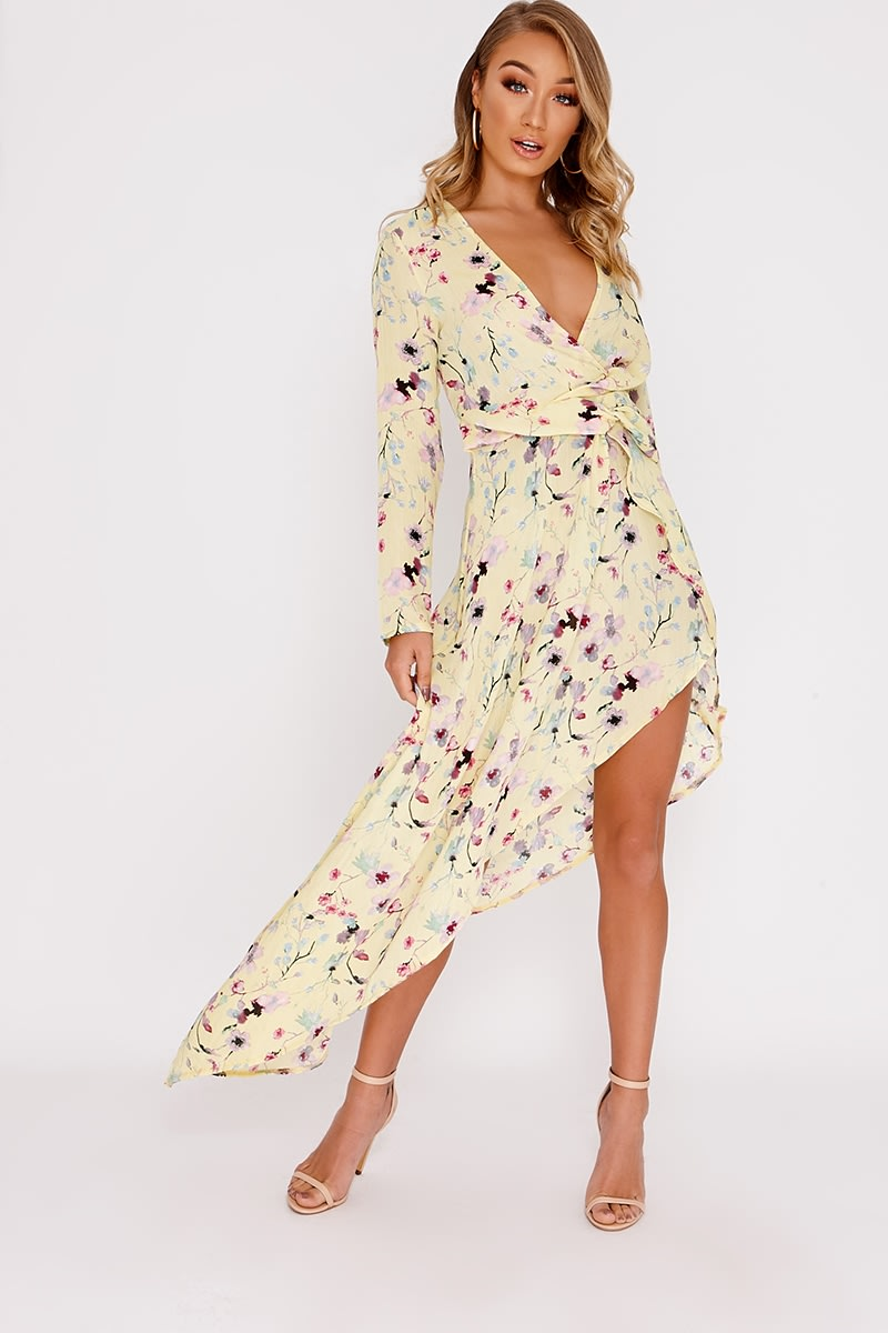 CARIA YELLOW FLORAL PRINT PLUNGE ASYMMETRIC HEM MIDI DRESS
