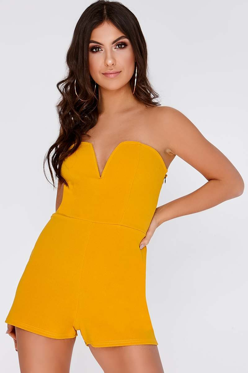 RISE MUSTARD SWEETHEART NECK BANDEAU PLAYSUIT
