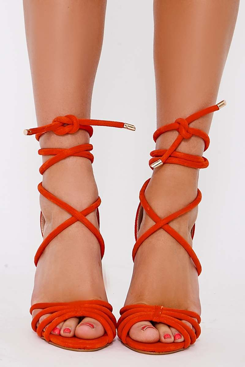 b58b7eea8b8 STAR ORANGE FAUX SUEDE LACE UP HEELED SANDALS