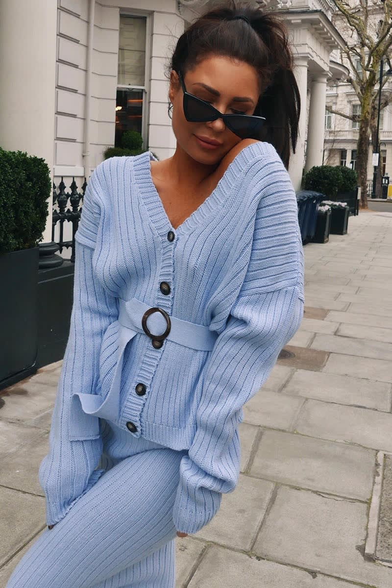 LORNA LUXE 'NO REGRETS' RIBBED BELTED BLUE CO-ORD CARDIGAN