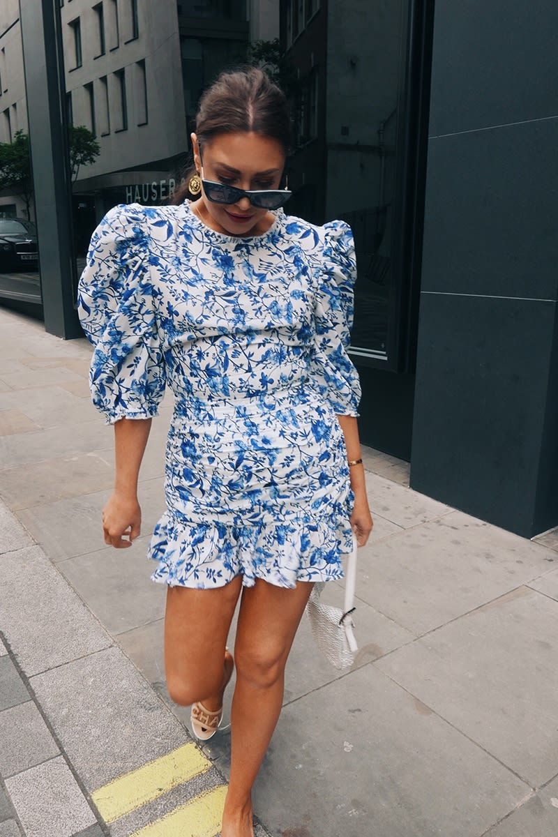 LORNA LUXE 'PRACTICALLY PERFECT' PORCELAIN BLUE FRILL CO-ORD MINI SKIRT