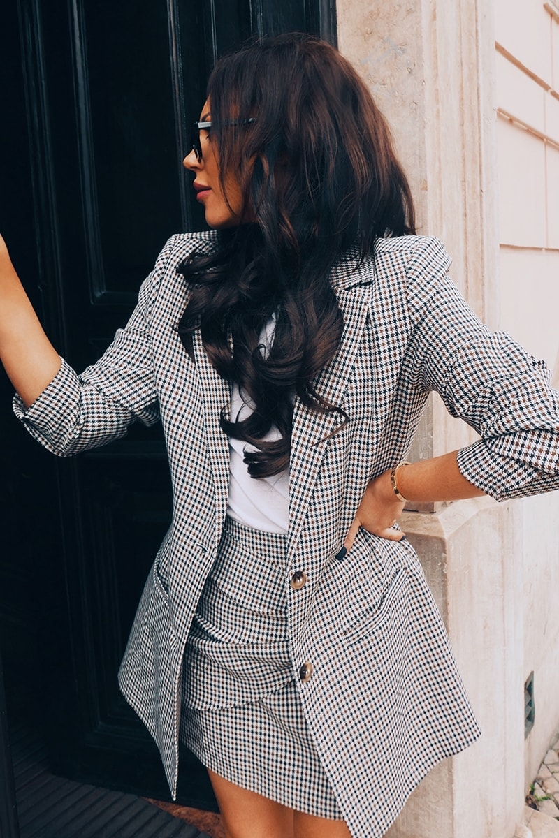 LORNA LUXE 'SORRY I MISSED YOUR CALL' CHECK BROWN CO-ORD BLAZER