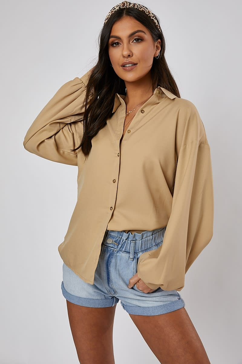 Narani Stone Oversized Balloon Sleeve Shirt by In The Style