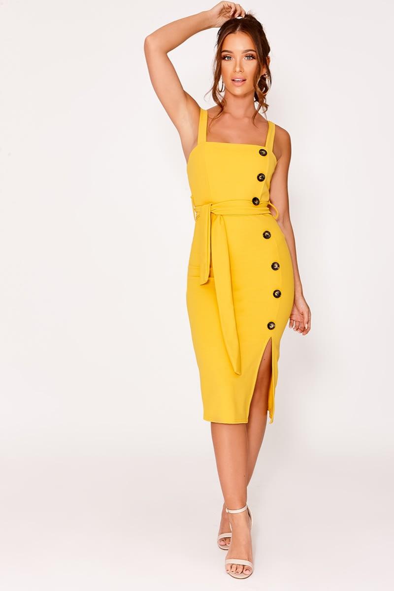 mustard button down midi dress