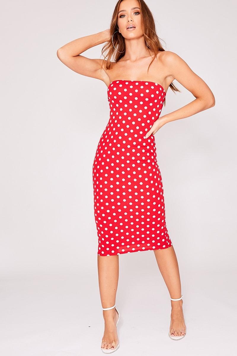red polka dot bandeau midi dress