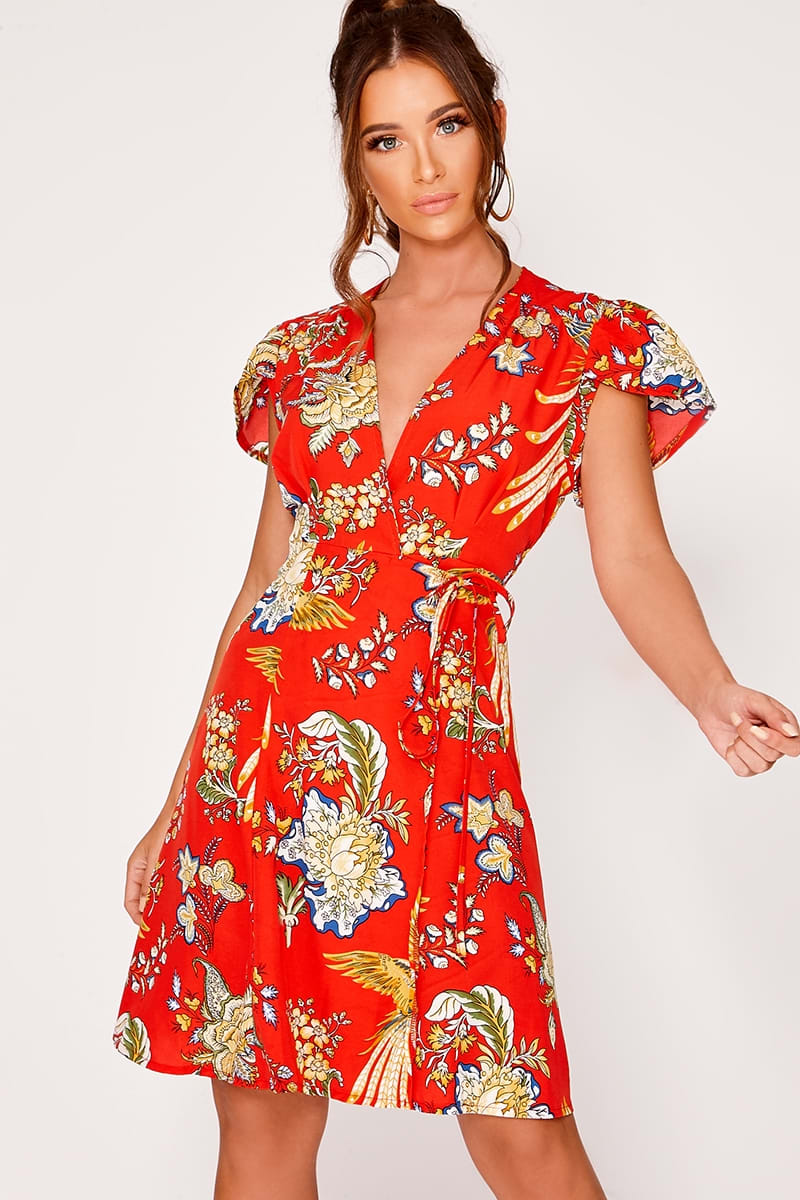 red oriental floral wrap front dress