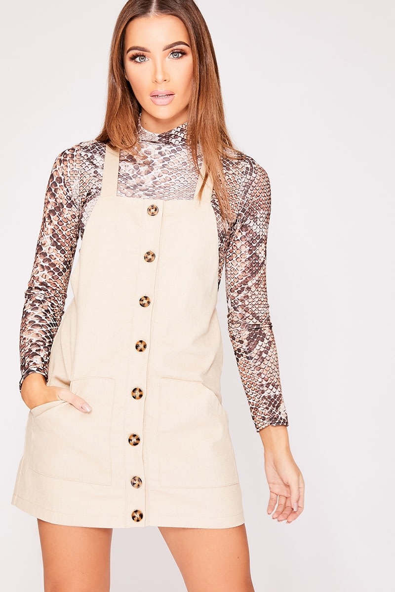 stone button front pinafore dress