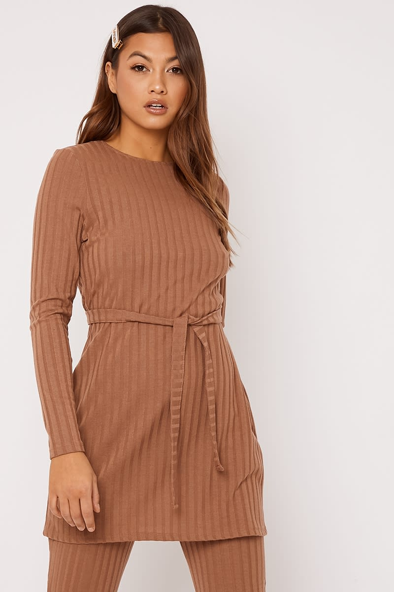 camel ribbed longline co-ord top