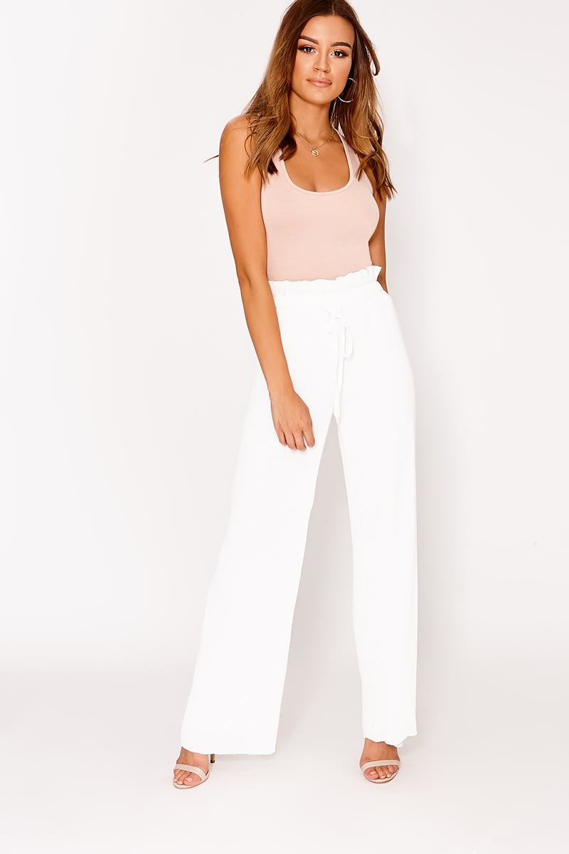white high waisted pleated trousers