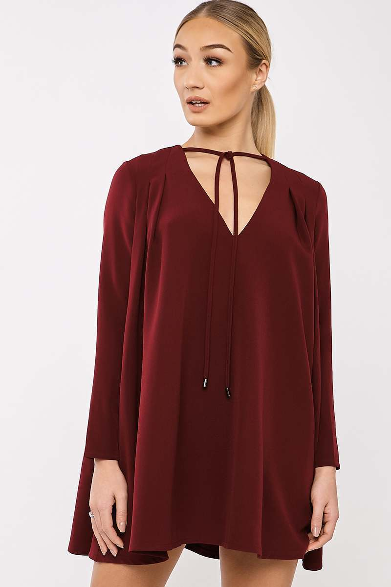 BINKY BURGUNDY PLEATED SWING DRESS