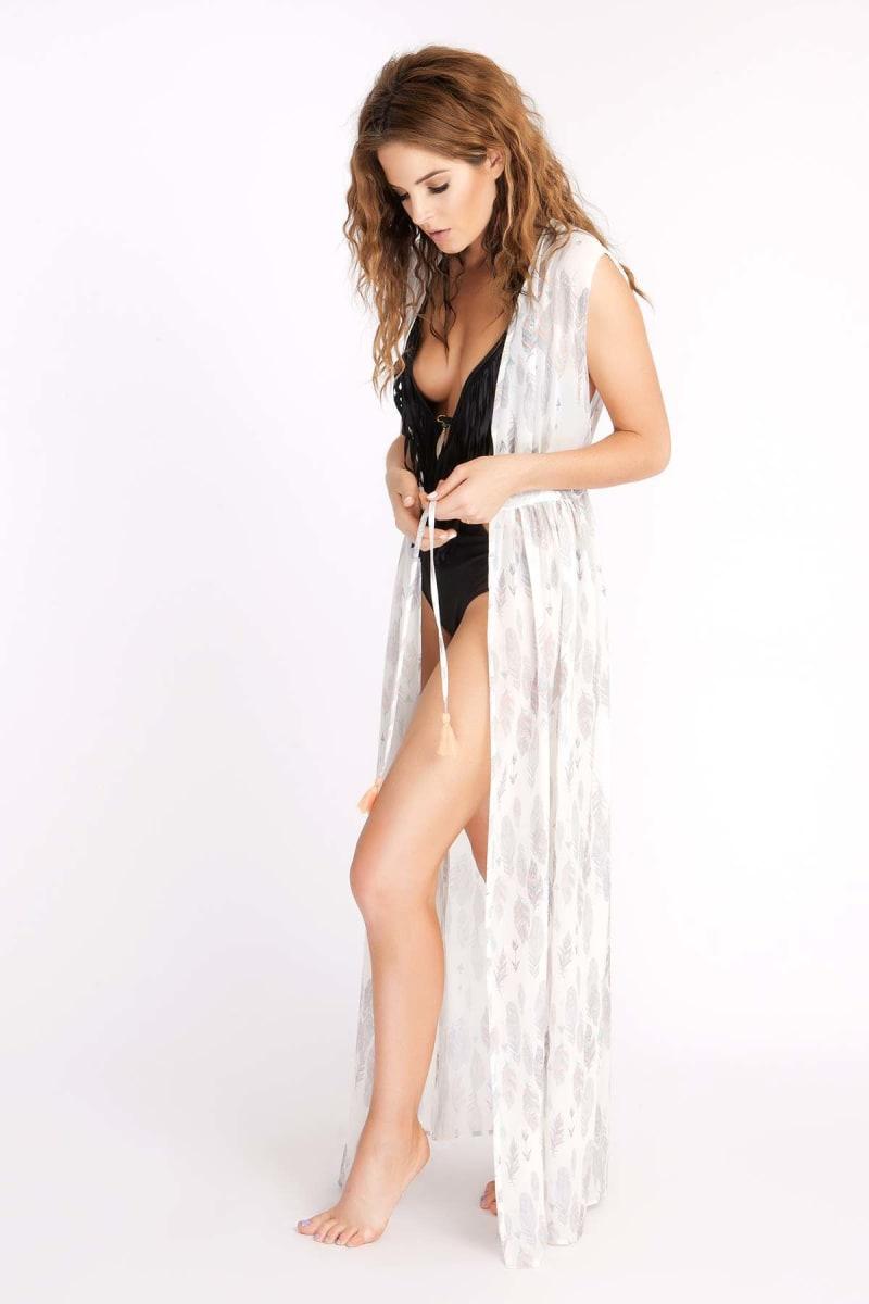 Binky Feather Print Sleeveless Maxi Kimono