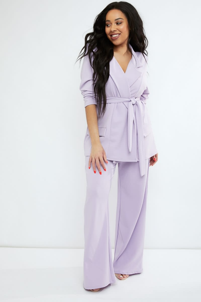 CURVE EMILY ATACK LILAC WIDE LEG CREPE CO ORD TROUSERS