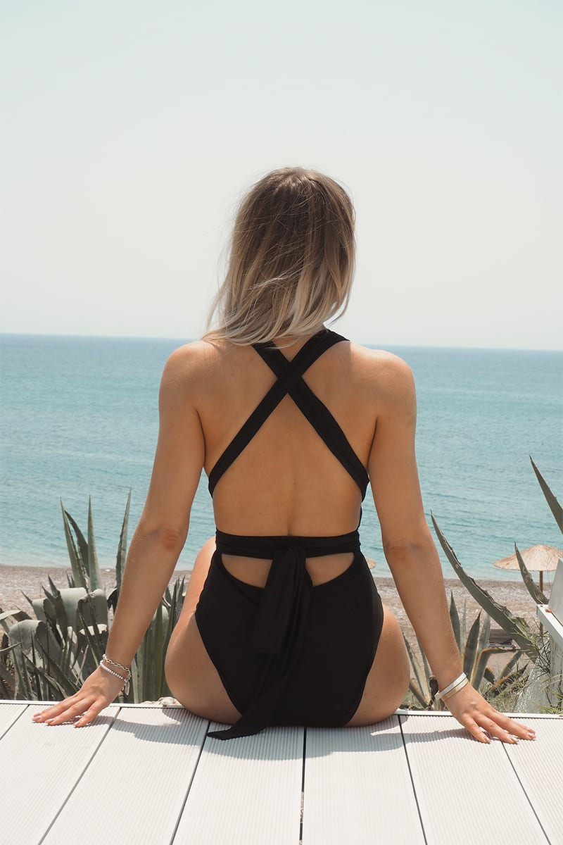 FASHION INFLUX BLACK MULTI WEAR PLUNGE FRONT SWIMSUIT