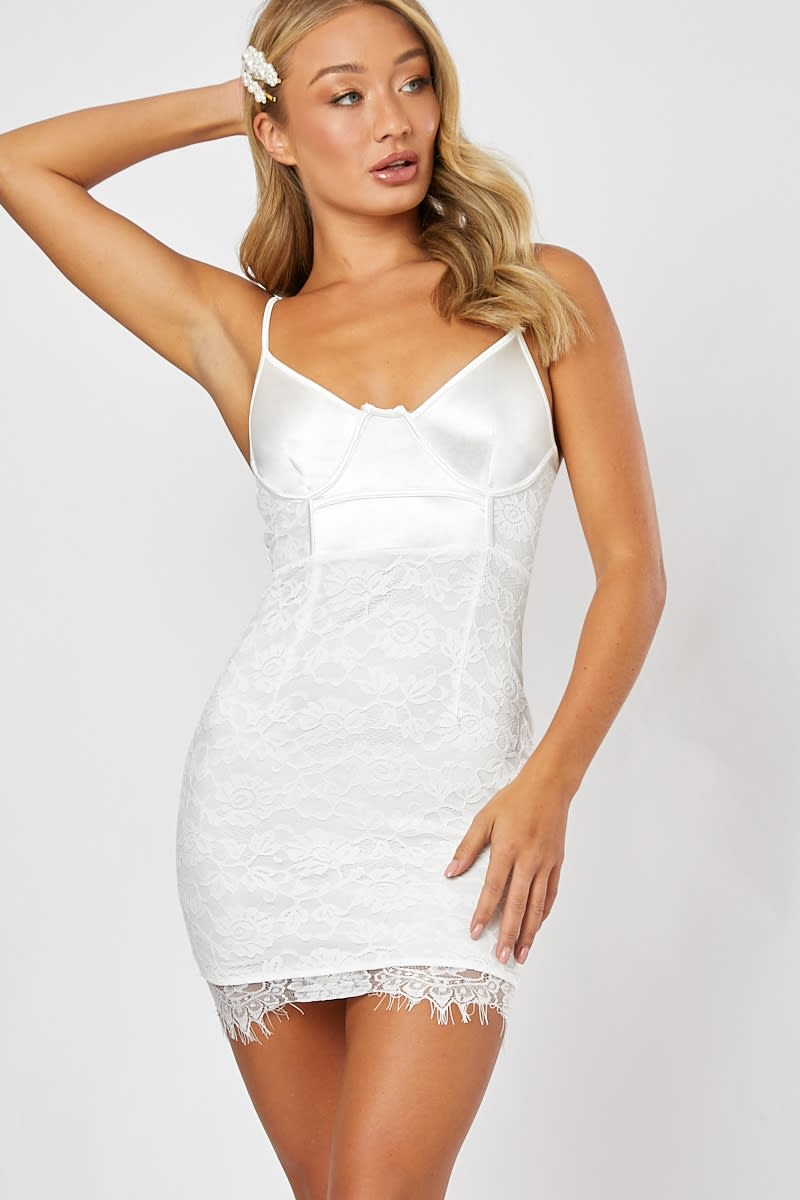white underwired lace and satin mini dress