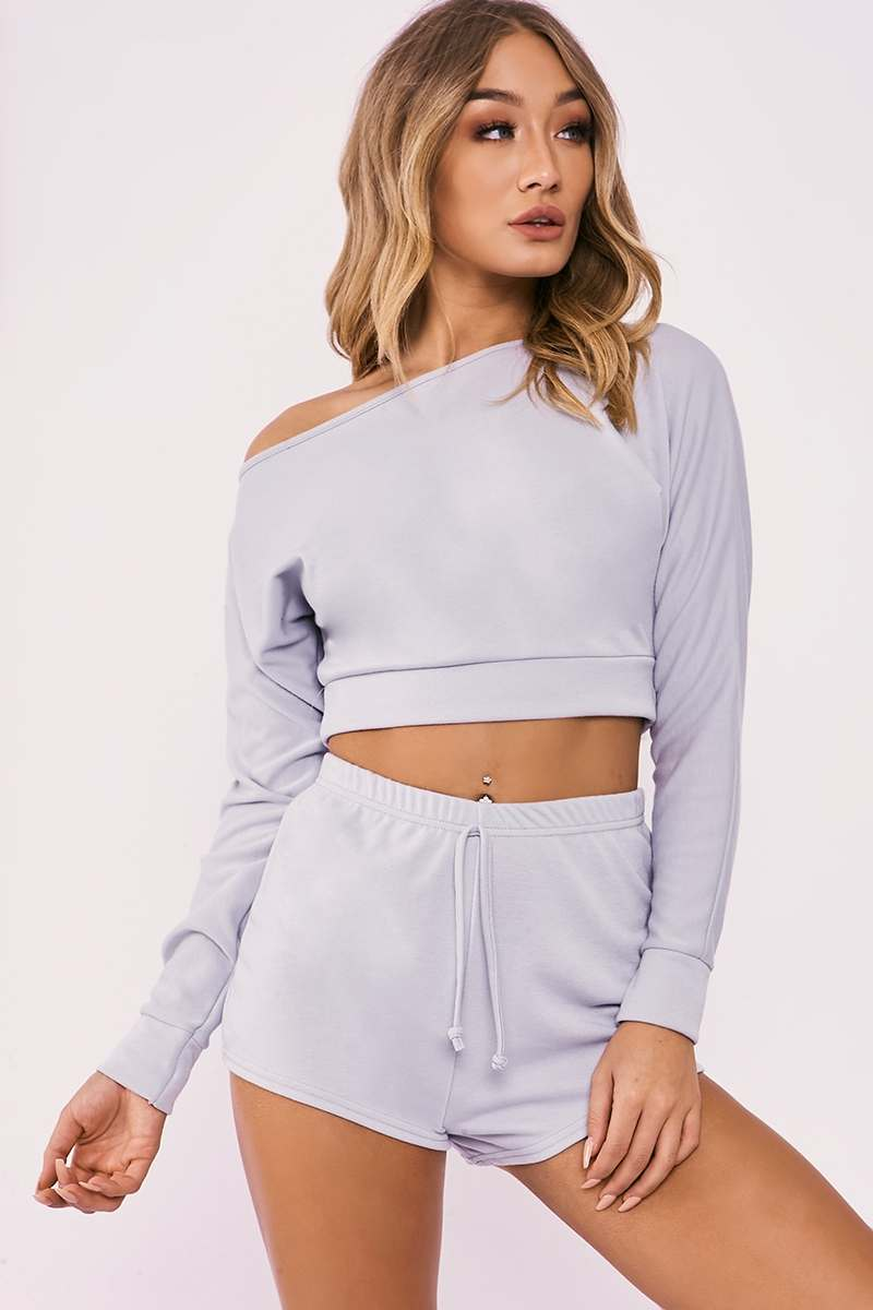 LINEY GREY ONE SHOULDER TOP AND SHORTS LOUNGE SET