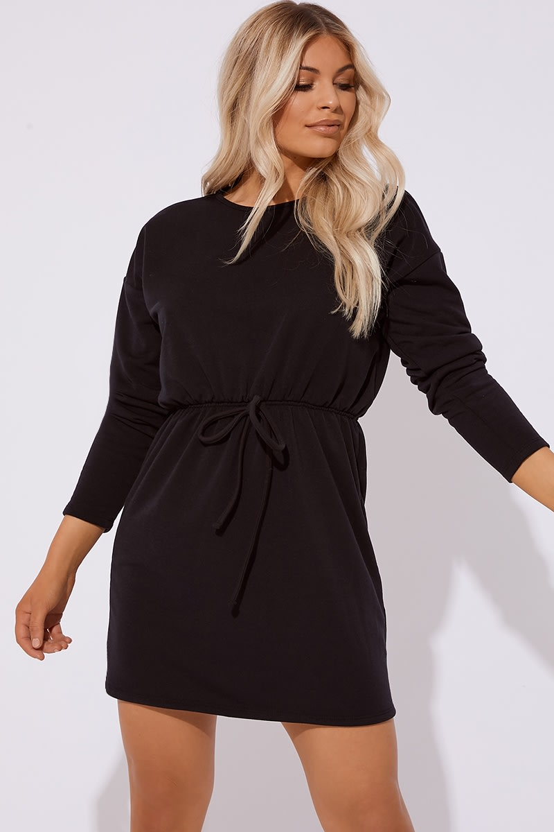 black drawstring waist sweater dress