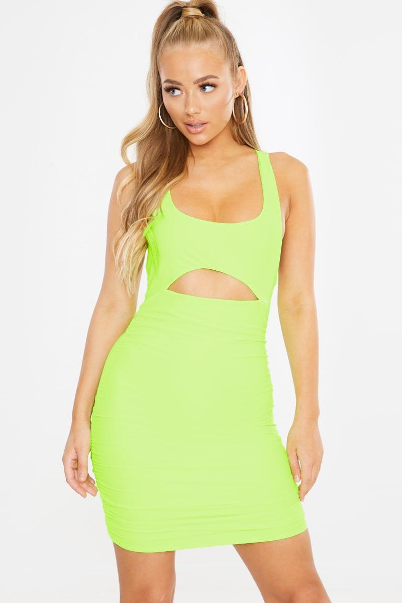 lime ruched cross back mini dress