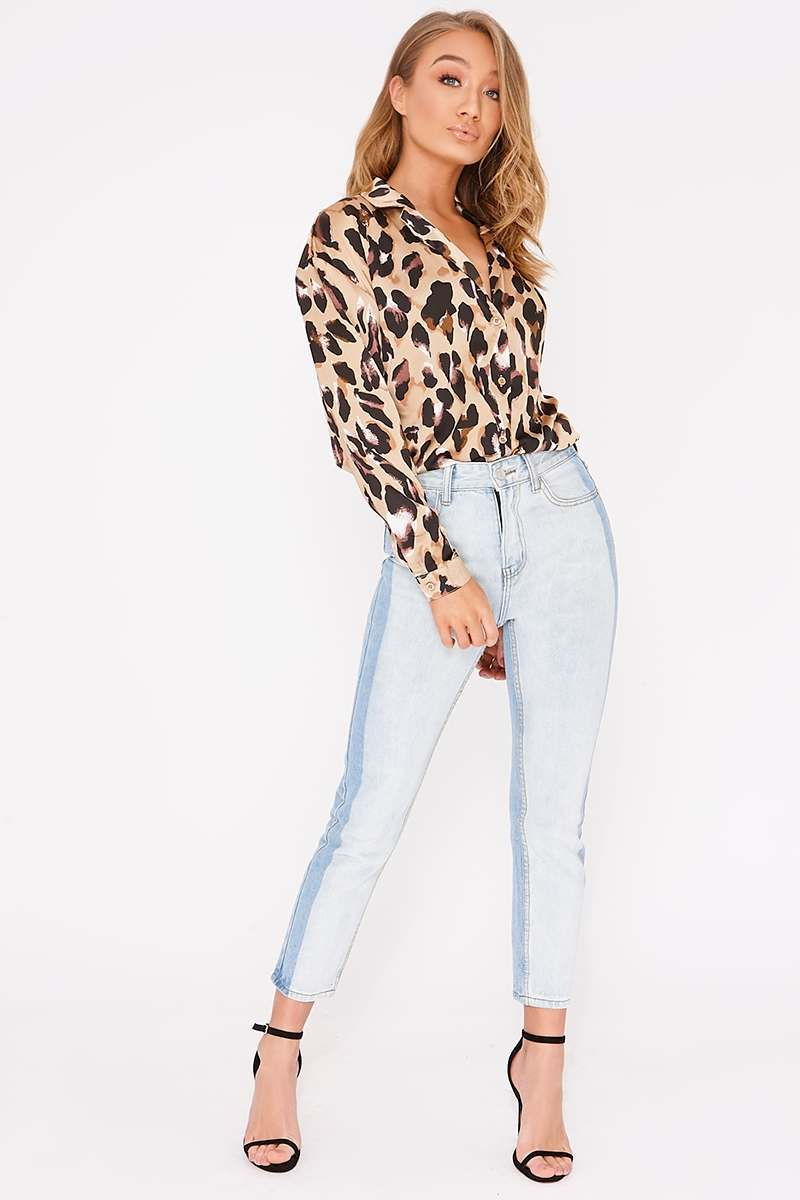 CALLE LIGHT WASH CONTRAST MOM JEANS