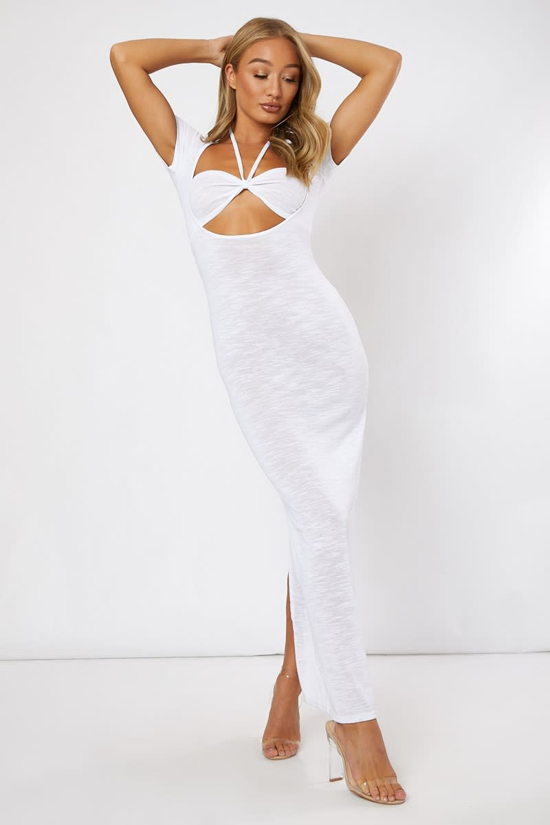 white cut out halterneck midi dress