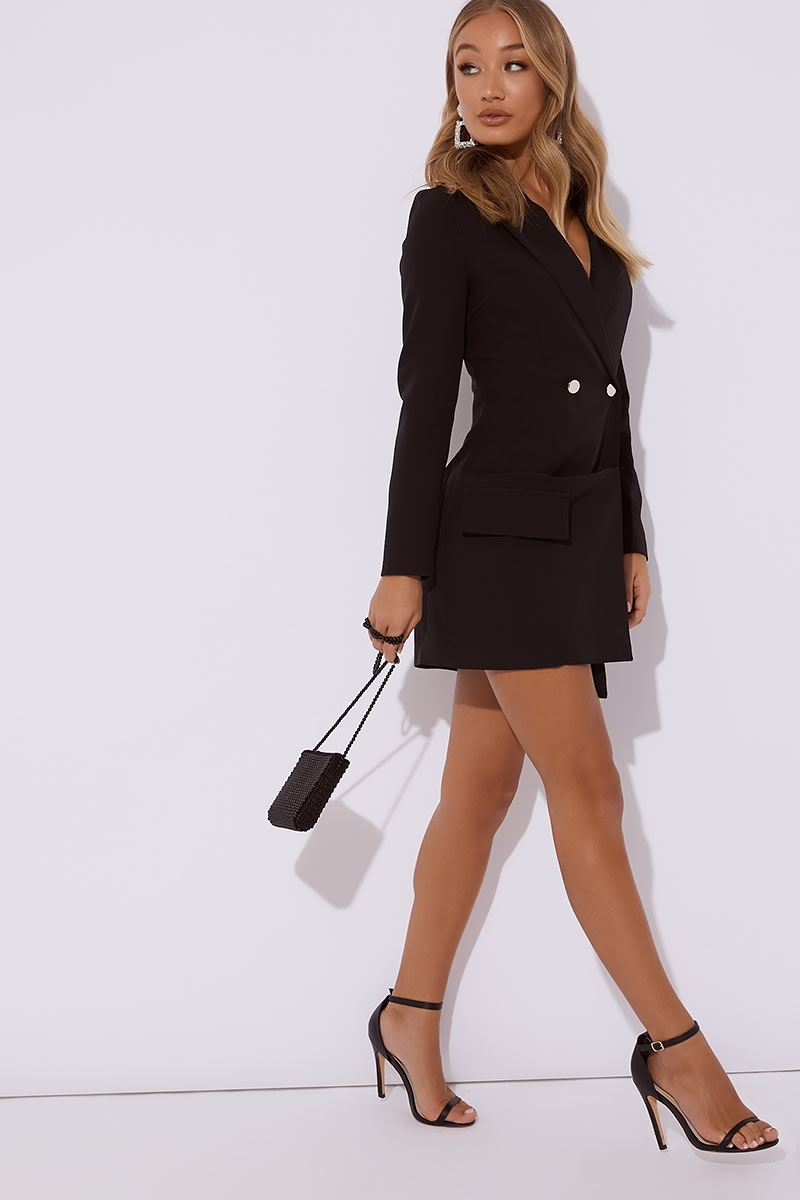 black ruched blazer dress