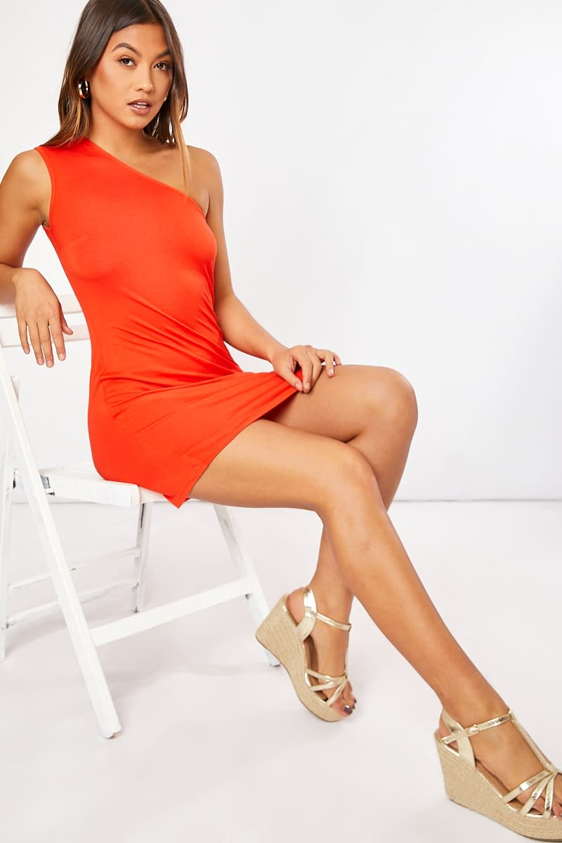 orange one shoulder mini dress