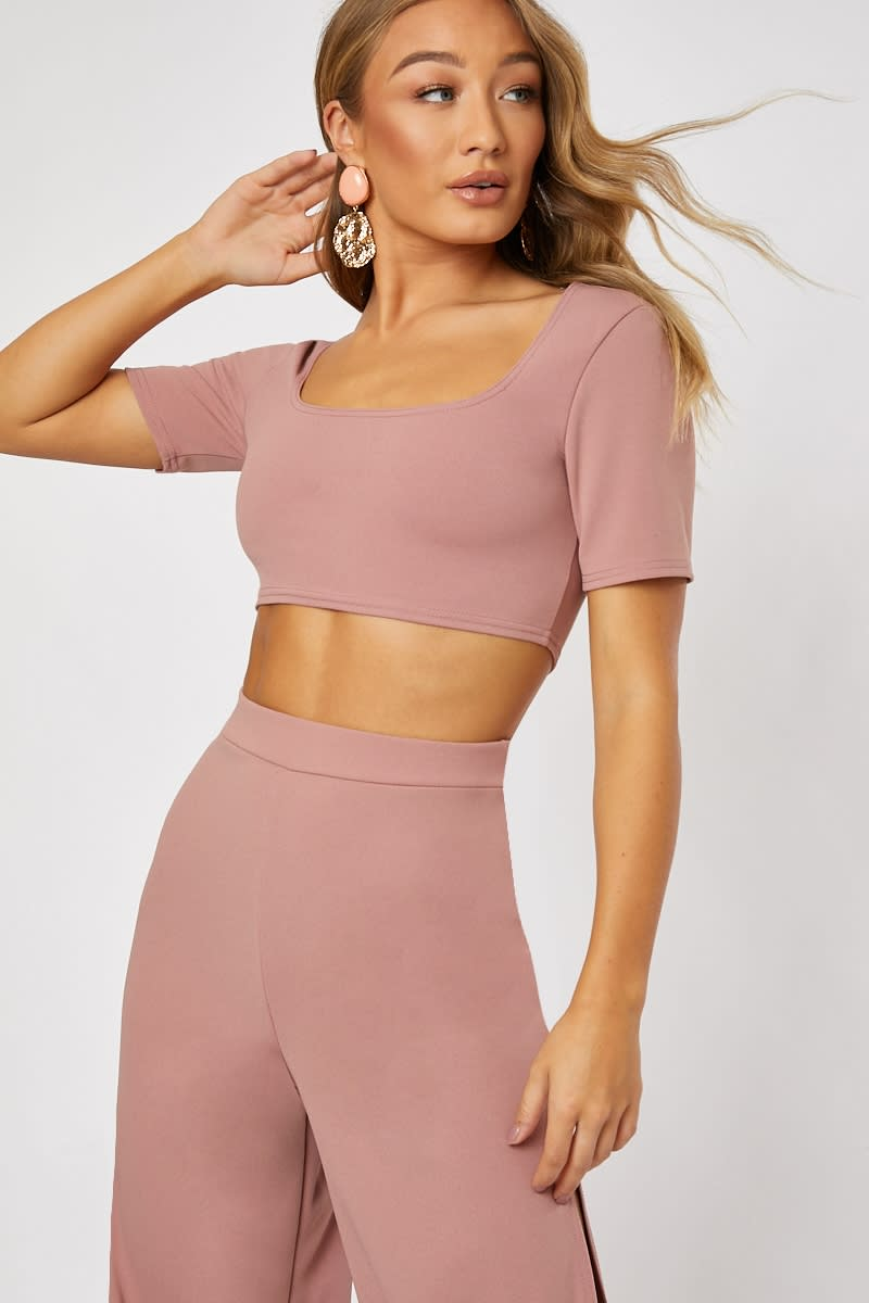 blush square neck co-ord crop top