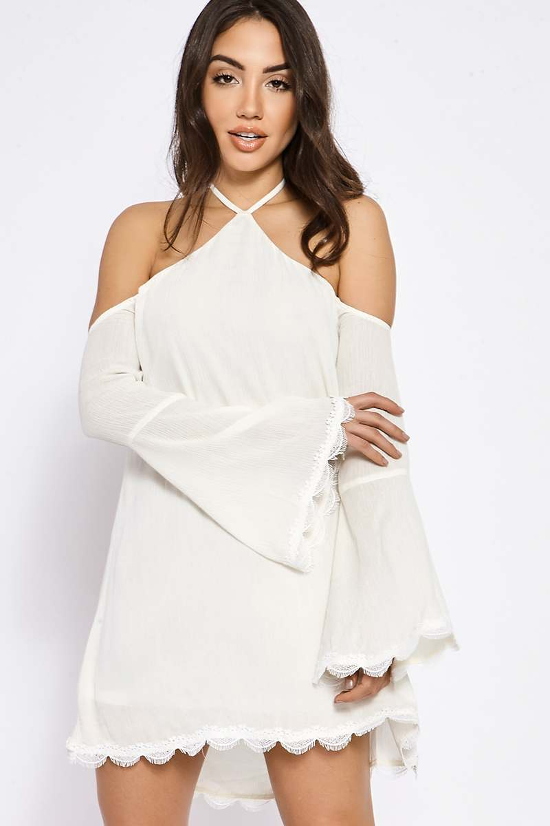 BINKY WHITE HALTERNECK FLUTE SLEEVE SWING DRESS