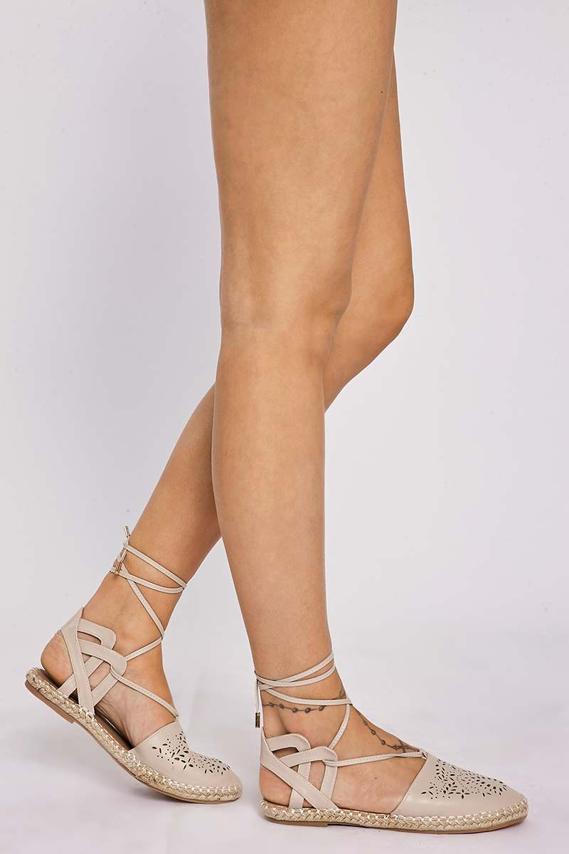 KOFI NUDE FAUX LEATHER LASER CUT OUT TIE STRAP ESPADRILLES