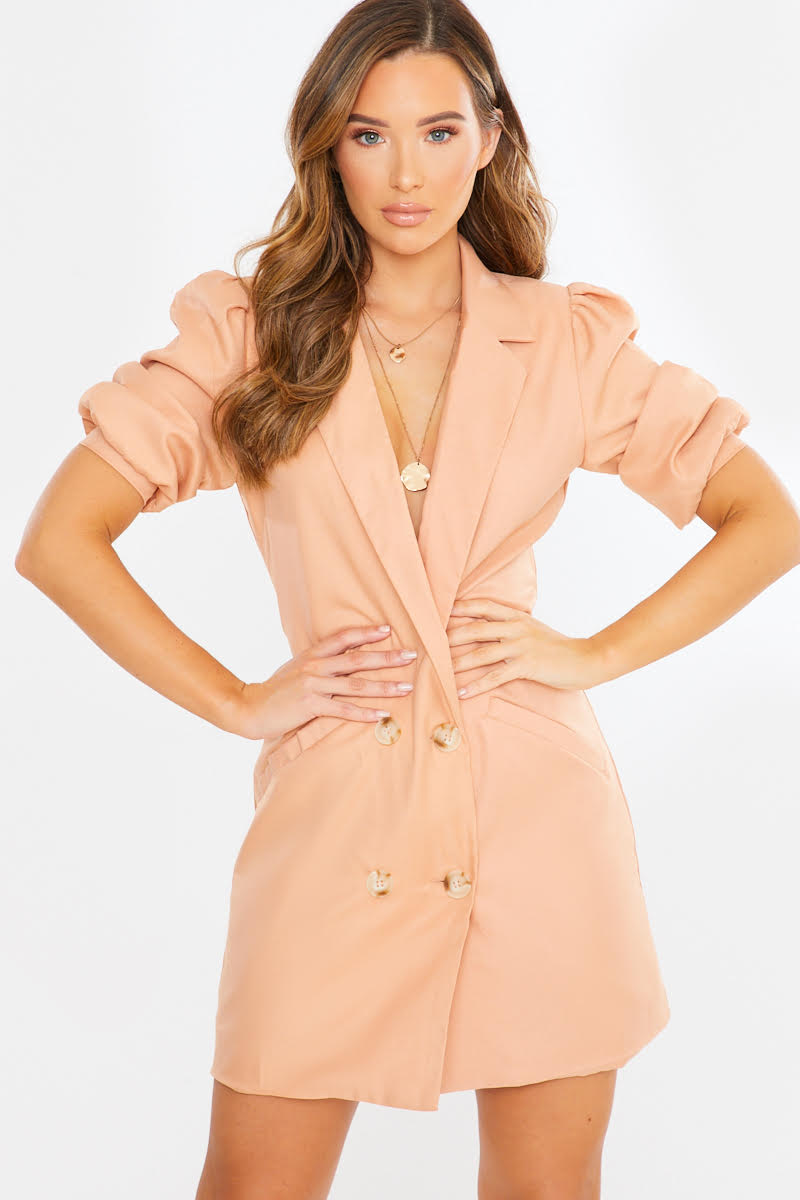 nude double breasted puff sleeve tux dress