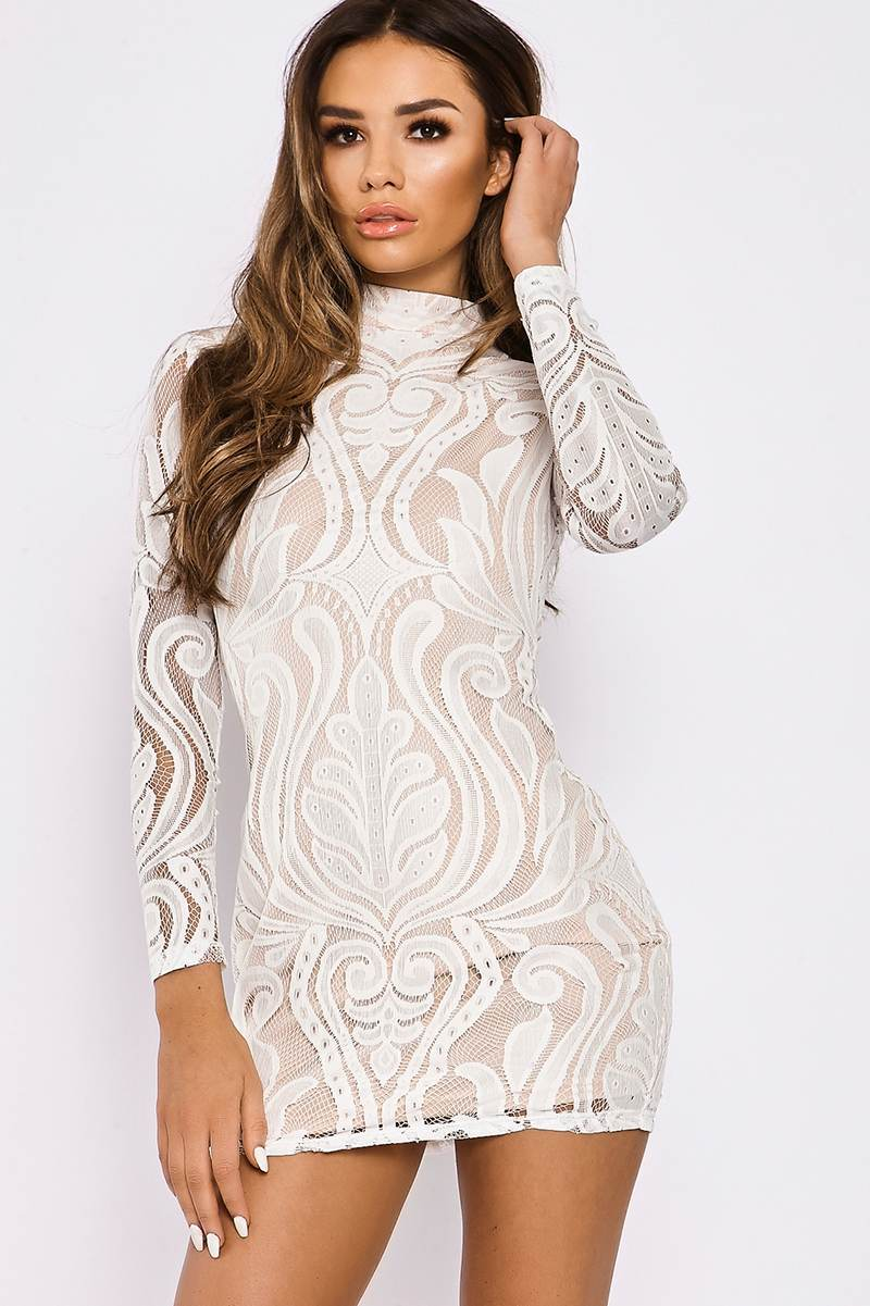 SARAH ASHCROFT WHITE FLOCKED LACE HIGH NECK MINI DRESS