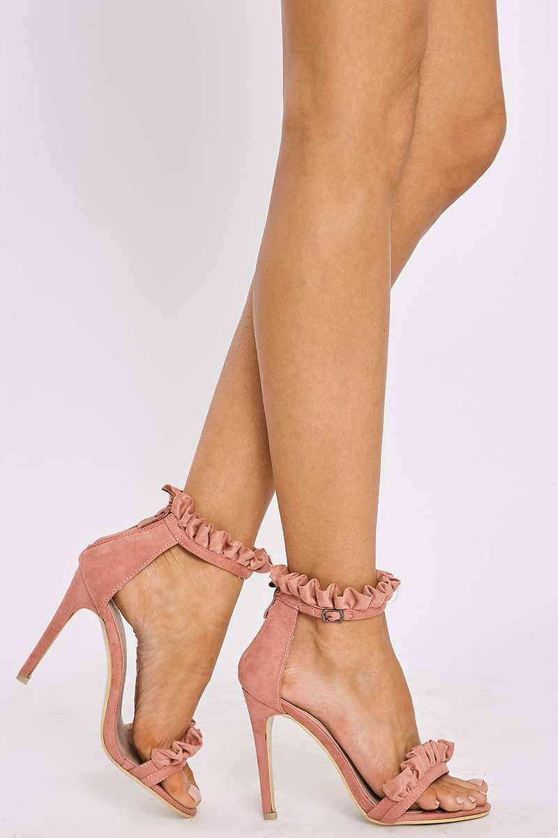pink faux suede ruffle strap barely there heels