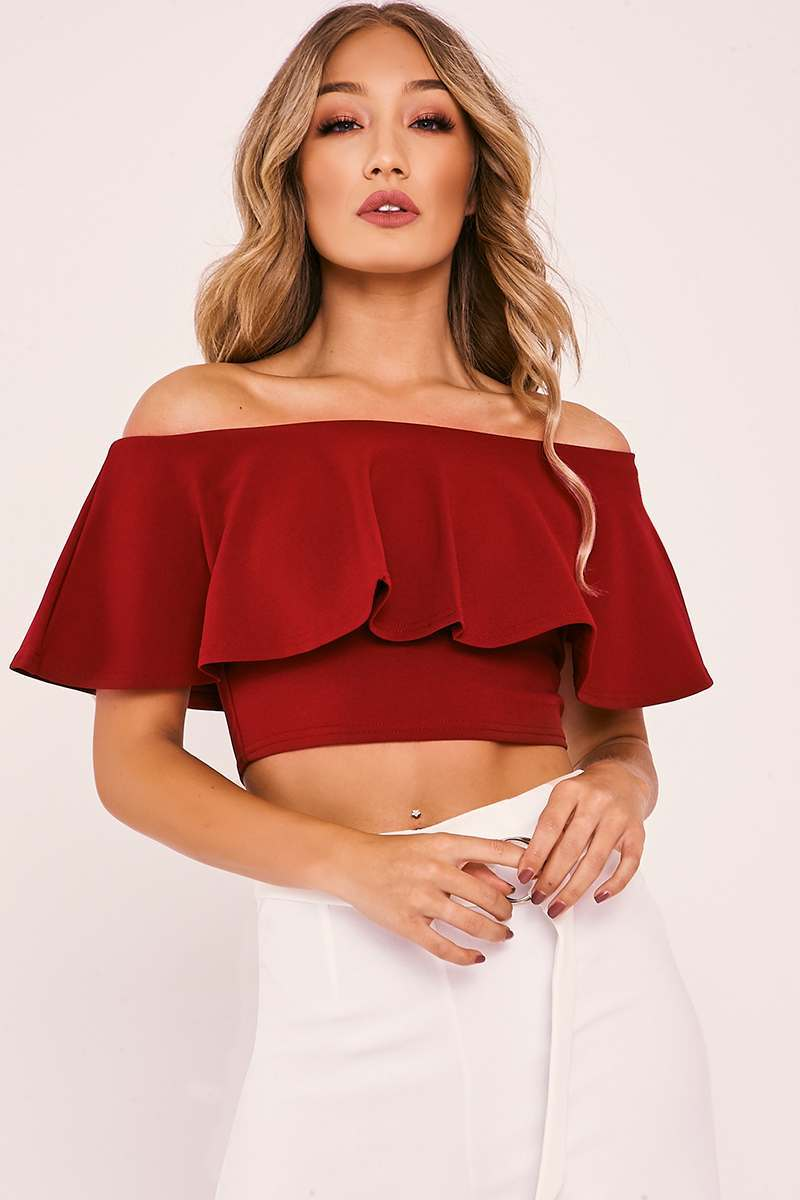 OLIVE BURGUNDY BARDOT FRILL CROP TOP