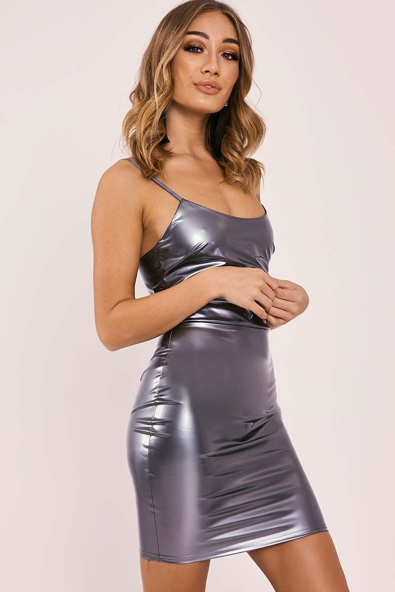 CARYN SILVER VINYL STRAPPY BODYCON DRESS
