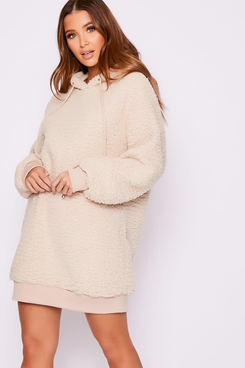 camel teddy fur hooded jumper dress