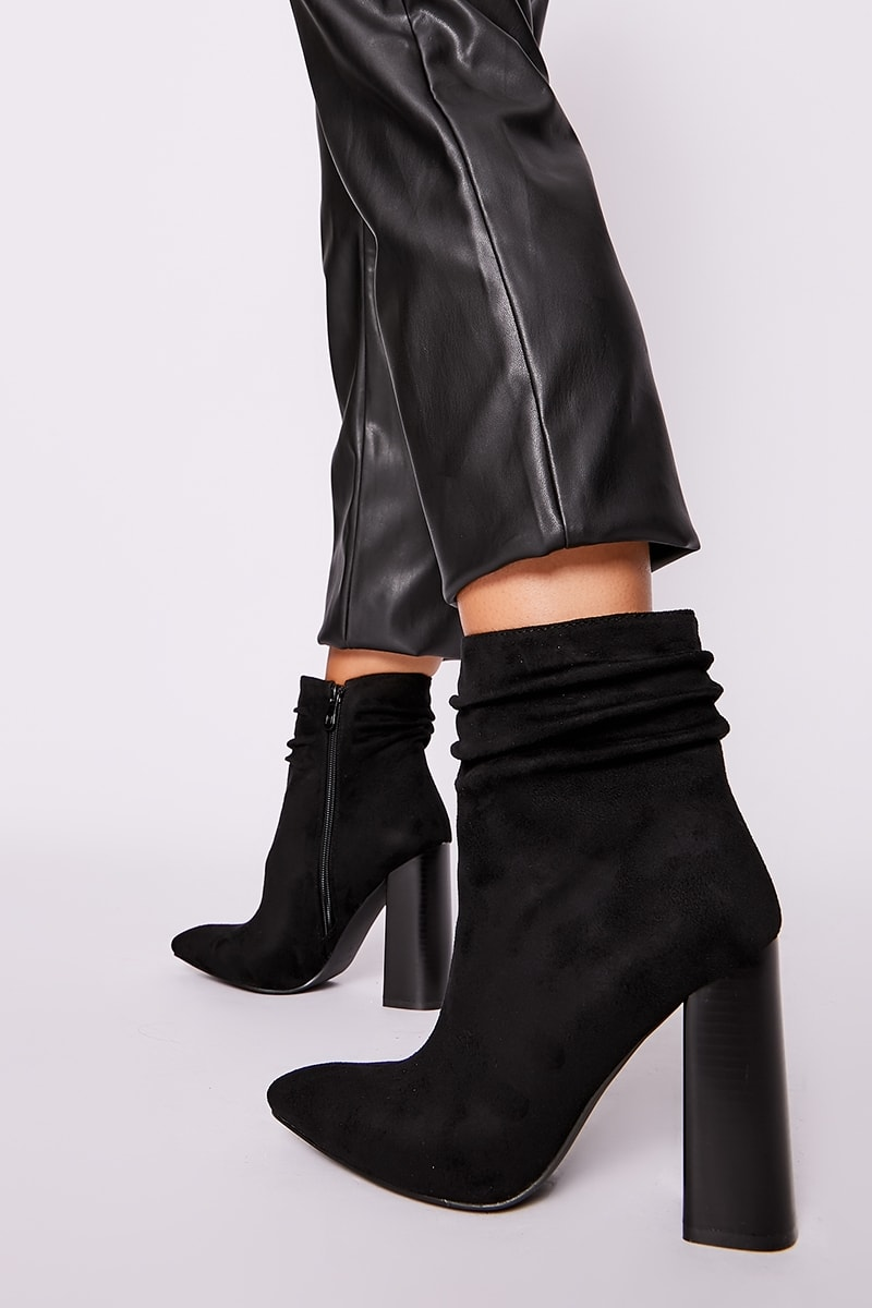black faux suede ruched heeled ankle boots