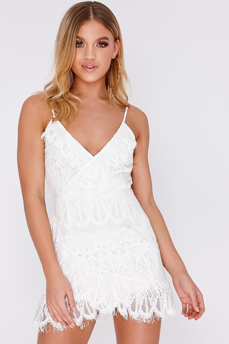 CLOEY CREAM FRILL LACE WRAP DRESS