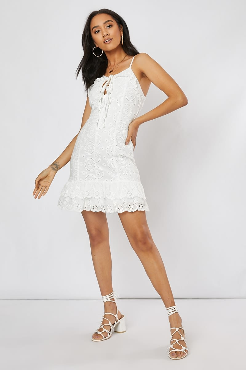 white broderie anglaise tie front mini dress