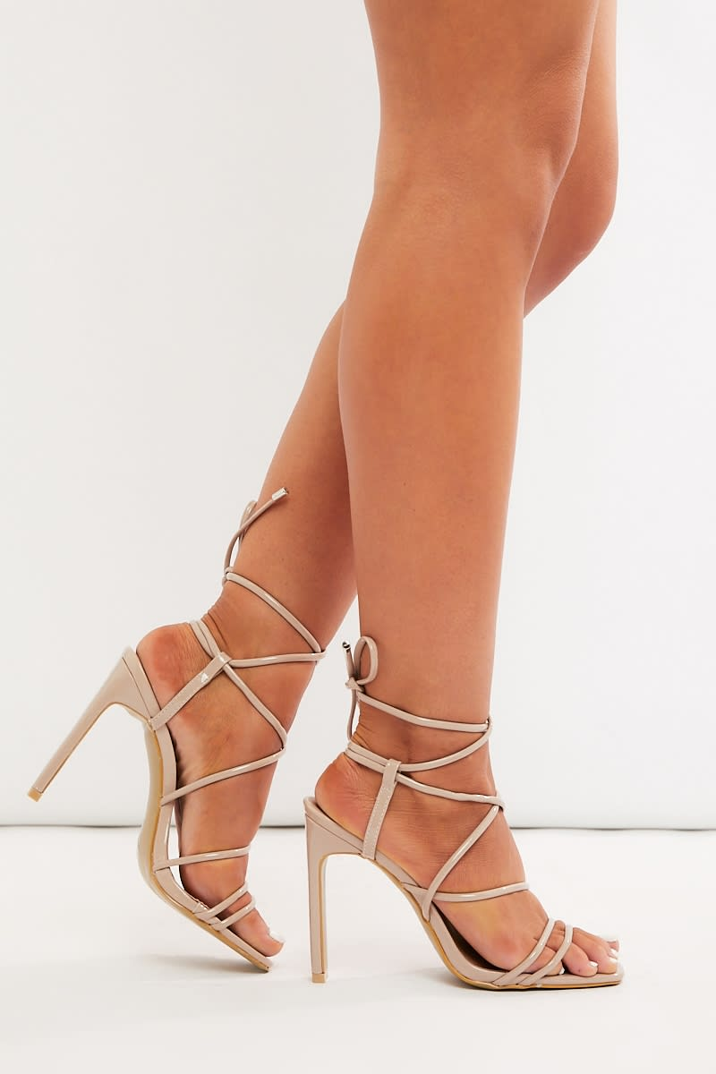 nude patent lace up heels
