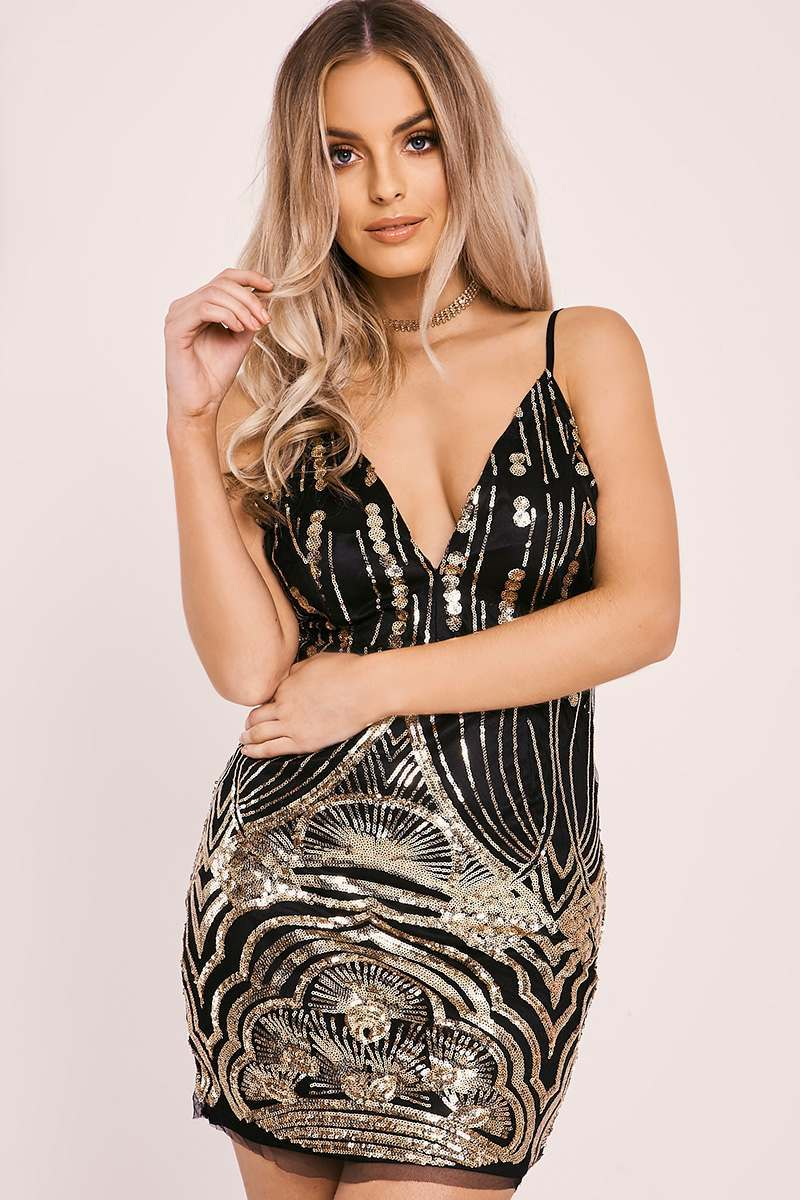 ISABELL BLACK SEQUIN STRAPPY PLUNGE MINI DRESS