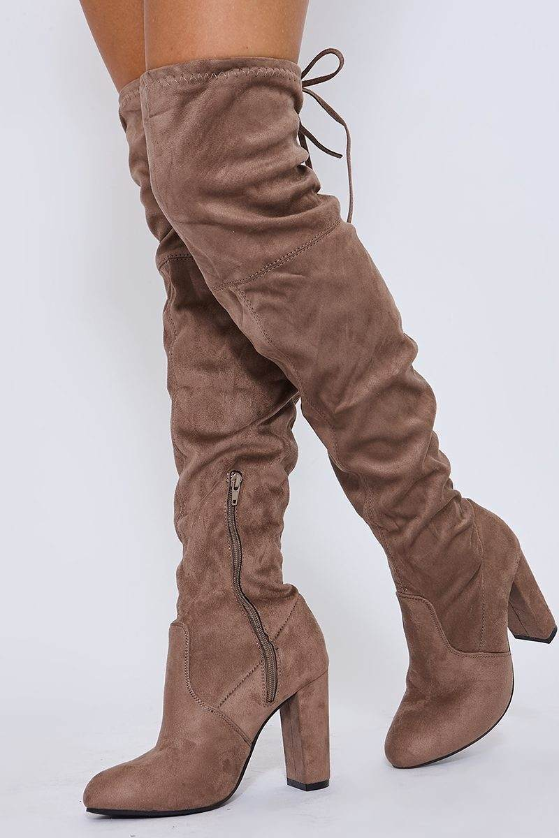 mocha faux suede over the knee heeled boots