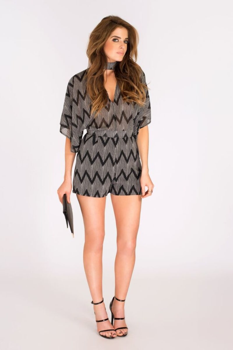 Binky High Neck Zig Zag Print Playsuit
