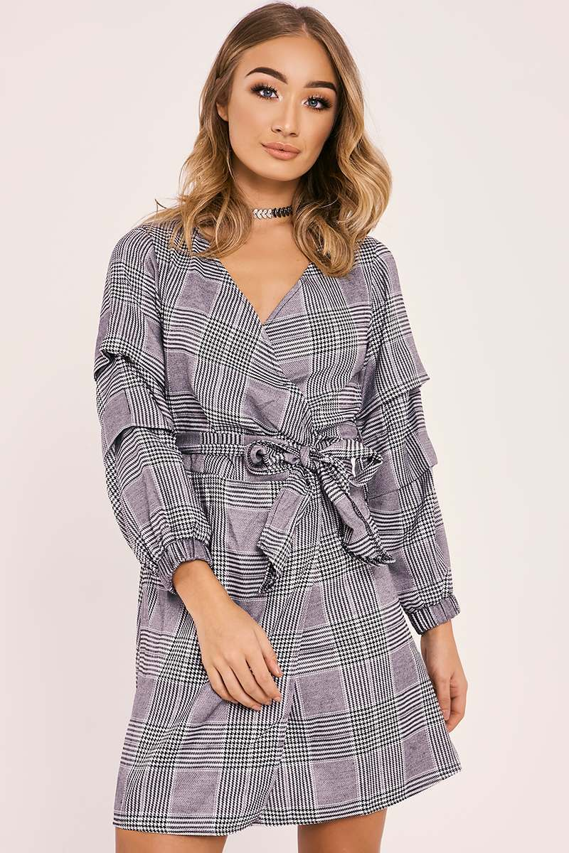 DAI GREY CHECKED BELTED WRAP DRESS