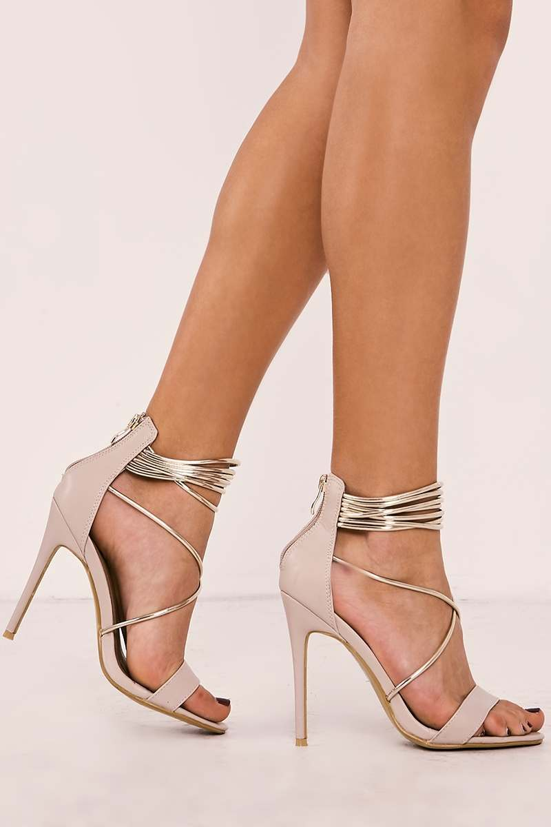 SAMINA NUDE FAUX LEATHER GOLD CONTRAST STRAP HEELS