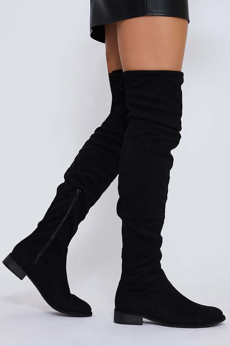 SAF BLACK STRETCH FAUX SUEDE OVER THE KNEE BOOTS