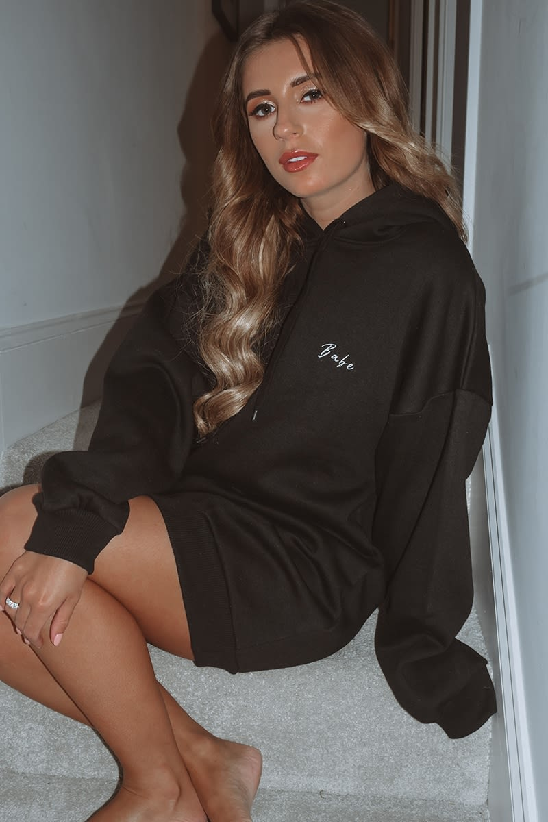 DANI DYER BABE BLACK EMBROIDERED OVERSIZED HOODIE LOUNGE DRESS